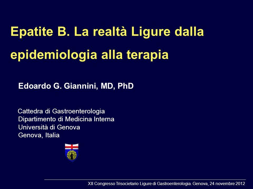Epatite B. La realtà Ligure dalla epidemiologia alla terapia