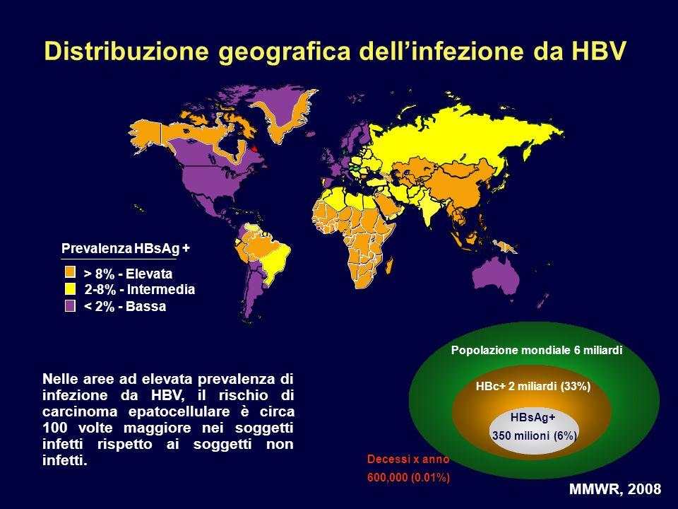 Distribuzione geografica dell'infezione da HBV
