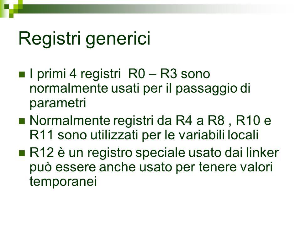 Registri generici I primi 4 registri R0 – R3 sono normalmente usati per il passaggio di parametri.