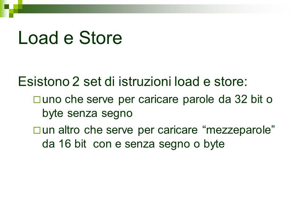 Load e Store Esistono 2 set di istruzioni load e store: