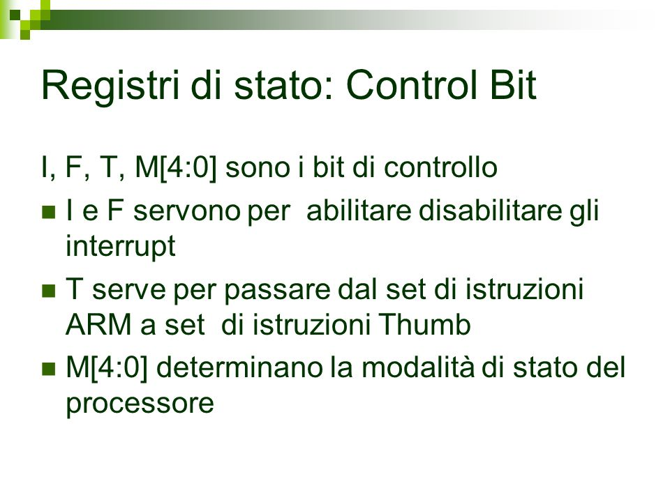 Registri di stato: Control Bit