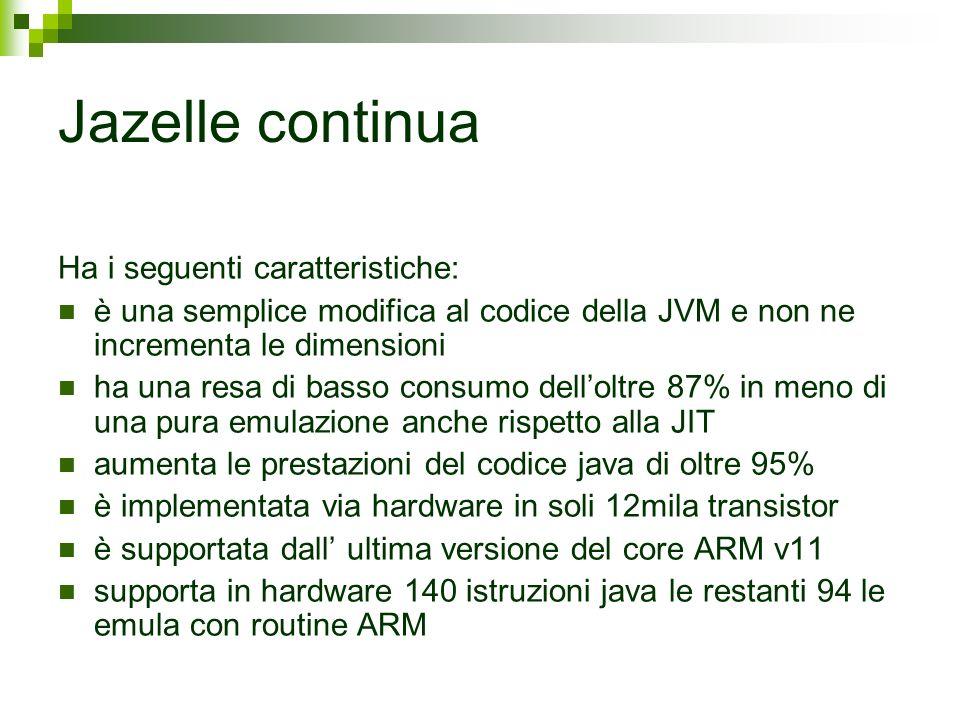 Jazelle continua Ha i seguenti caratteristiche: