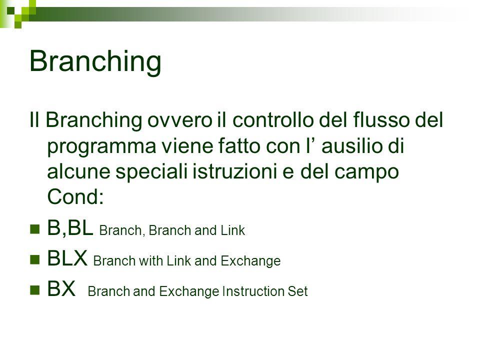 Branching Il Branching ovvero il controllo del flusso del programma viene fatto con l' ausilio di alcune speciali istruzioni e del campo Cond: