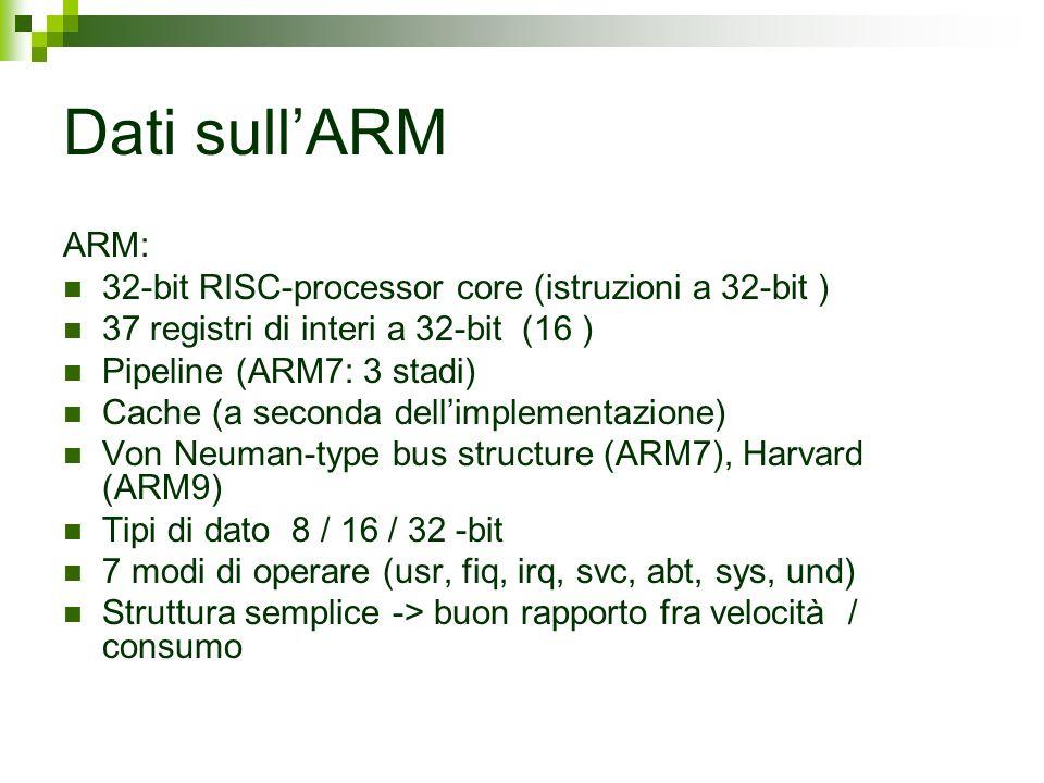 Dati sull'ARM ARM: 32-bit RISC-processor core (istruzioni a 32-bit )