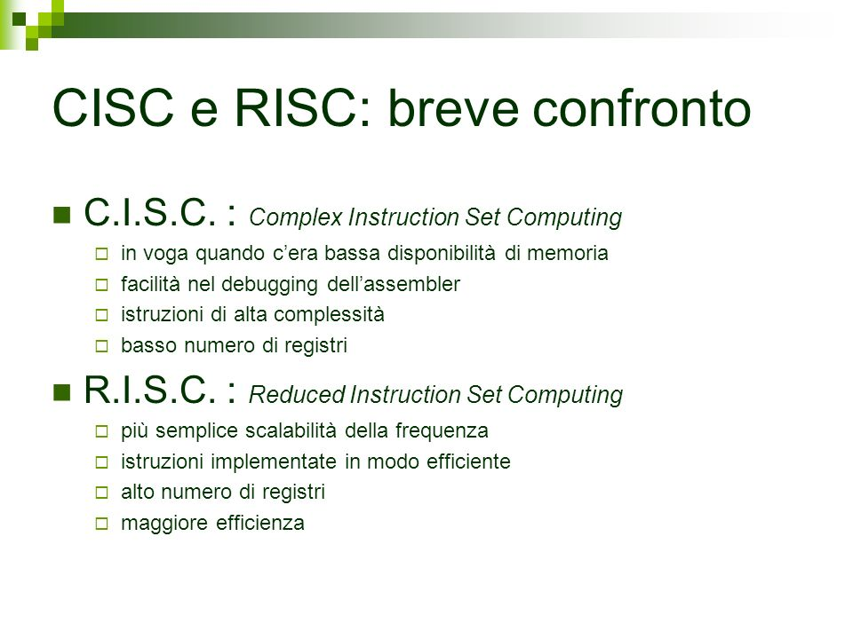 CISC e RISC: breve confronto