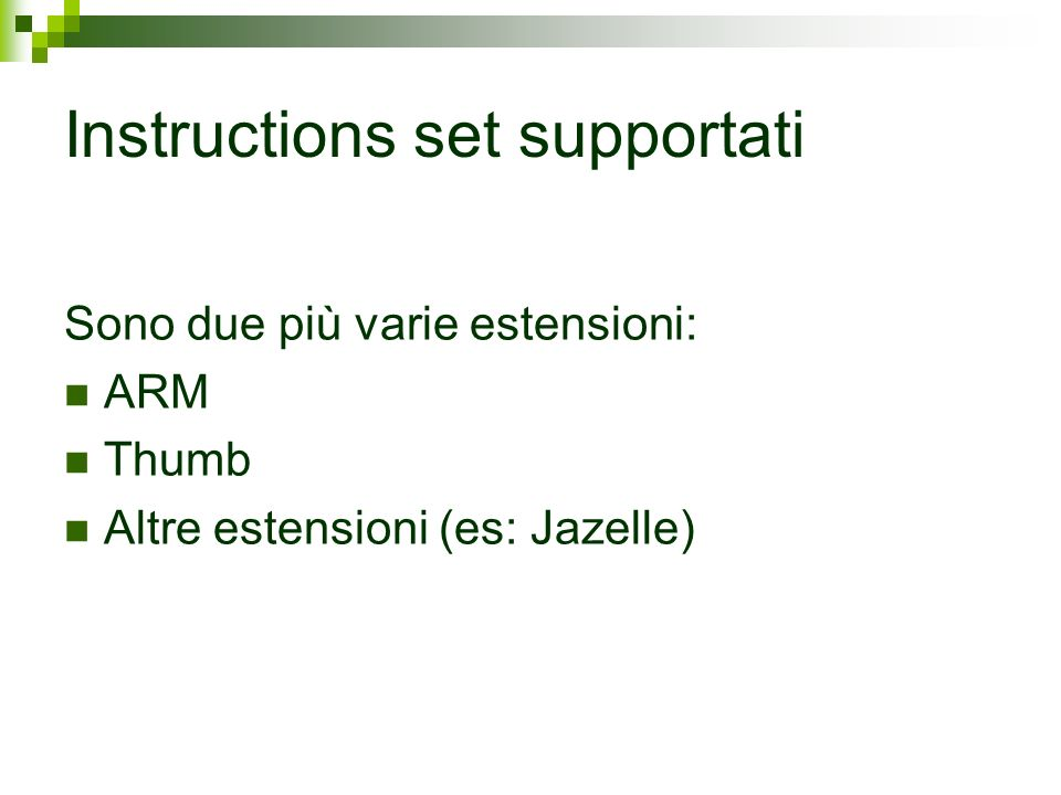 Instructions set supportati