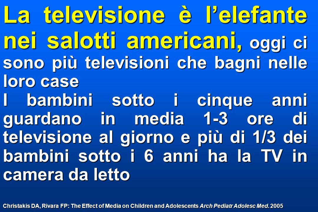 La televisione è l'elefante nei salotti americani, oggi ci sono più televisioni che bagni nelle loro case
