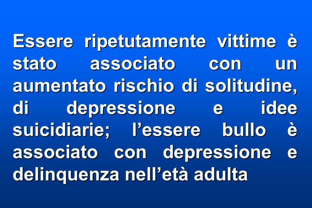 Essere ripetutamente vittime è stato associato con un aumentato rischio di solitudine, di depressione e idee suicidiarie; l'essere bullo è associato con depressione e delinquenza nell'età adulta