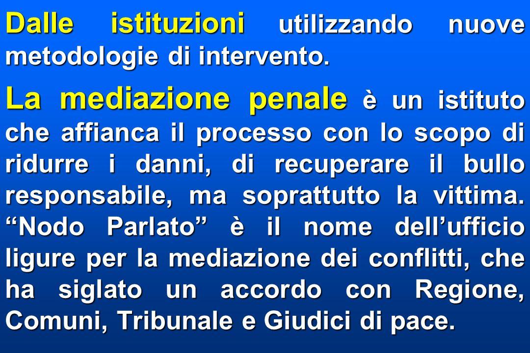 Dalle istituzioni utilizzando nuove metodologie di intervento.
