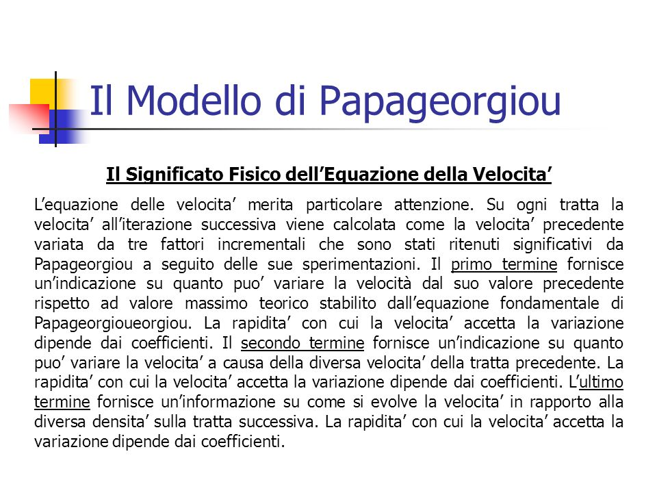 Il Modello di Papageorgiou