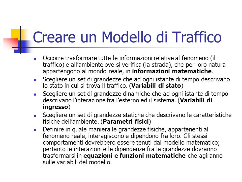 Creare un Modello di Traffico