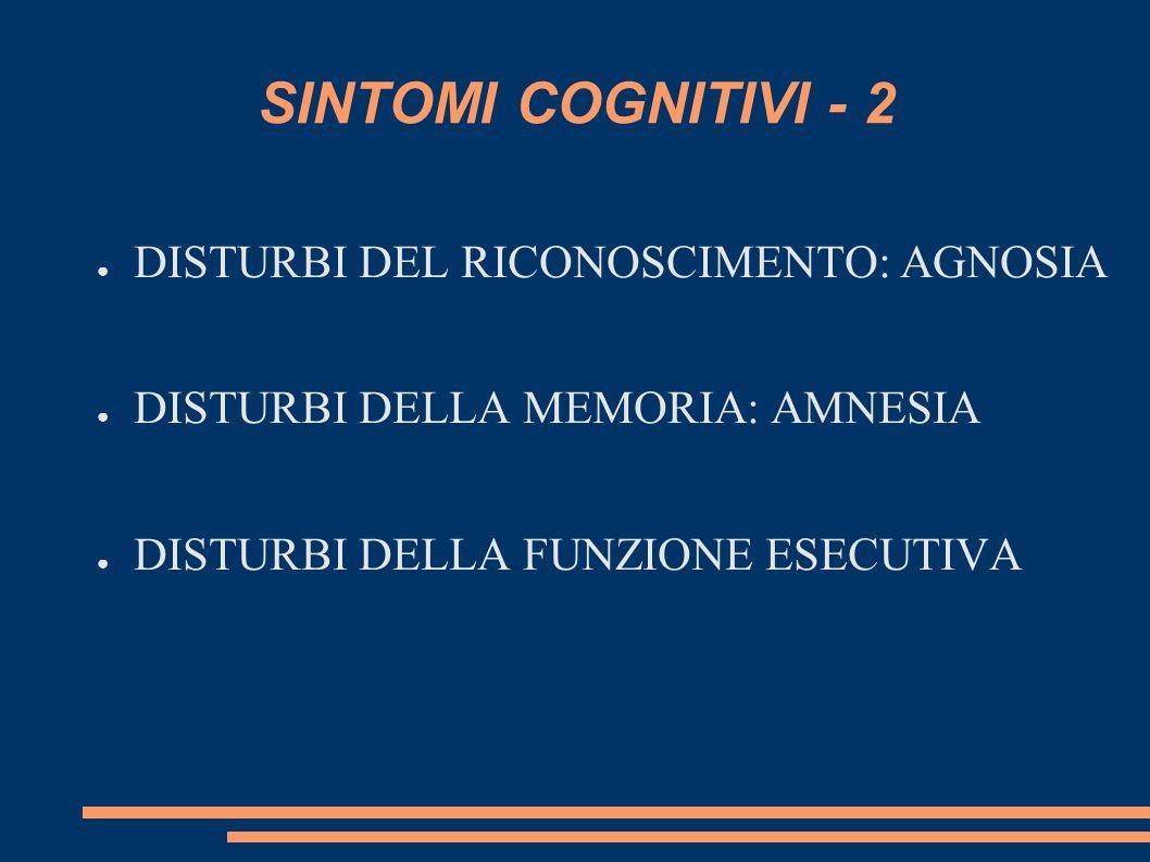 SINTOMI COGNITIVI - 2 DISTURBI DEL RICONOSCIMENTO: AGNOSIA