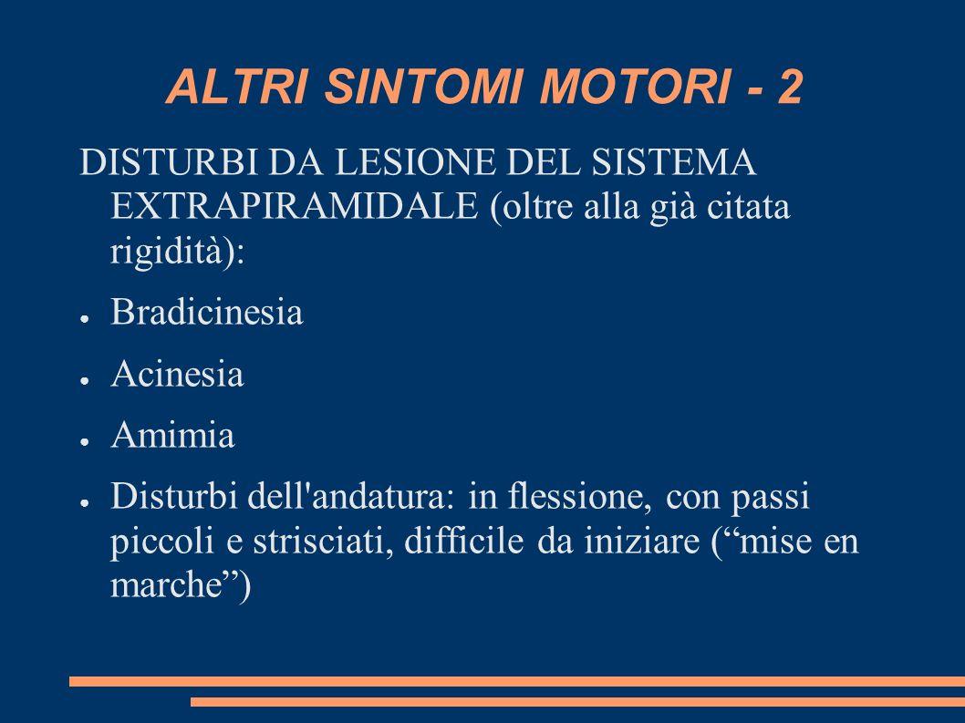 ALTRI SINTOMI MOTORI - 2 DISTURBI DA LESIONE DEL SISTEMA EXTRAPIRAMIDALE (oltre alla già citata rigidità):