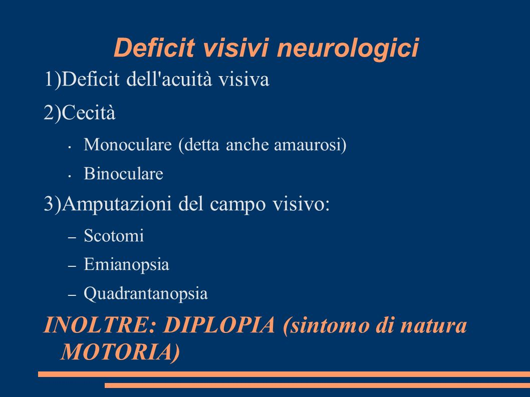 Deficit visivi neurologici