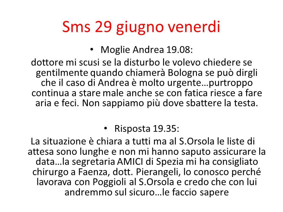 Sms 29 giugno venerdi Moglie Andrea 19.08: