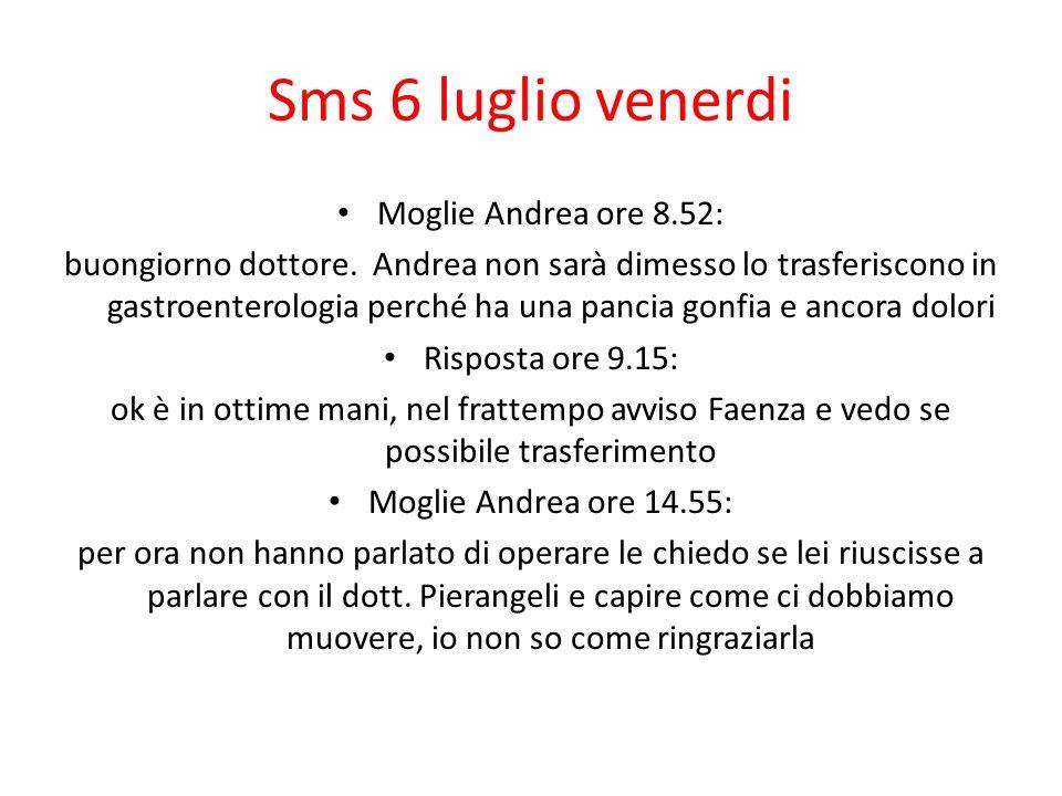 Sms 6 luglio venerdi Moglie Andrea ore 8.52: