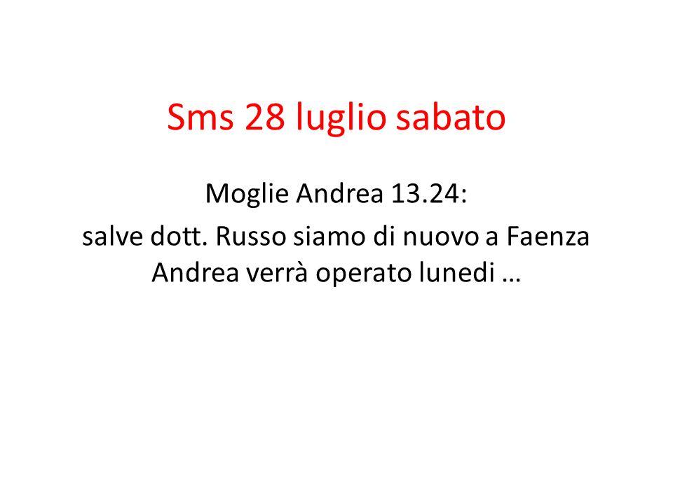 Sms 28 luglio sabato Moglie Andrea 13.24: salve dott.