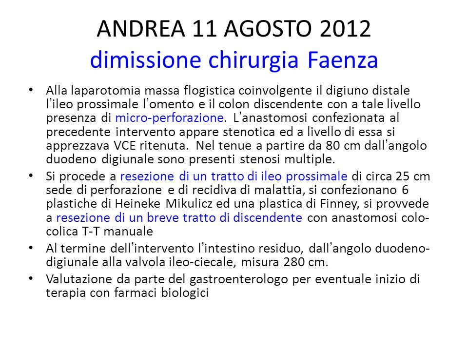 ANDREA 11 AGOSTO 2012 dimissione chirurgia Faenza