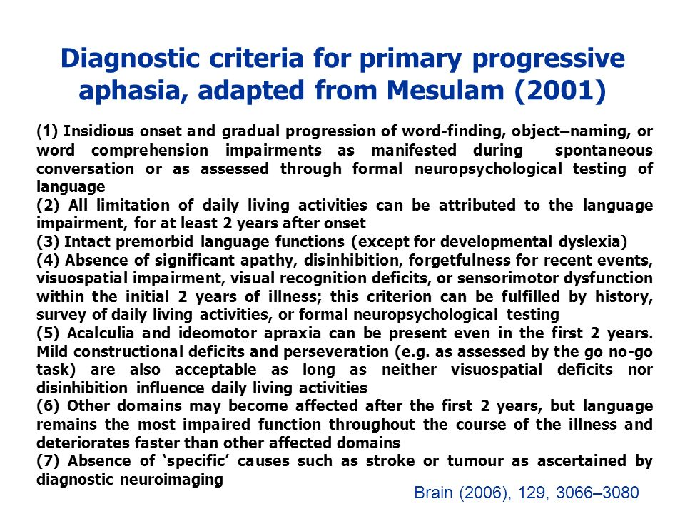 Diagnostic criteria for primary progressive aphasia, adapted from Mesulam (2001)