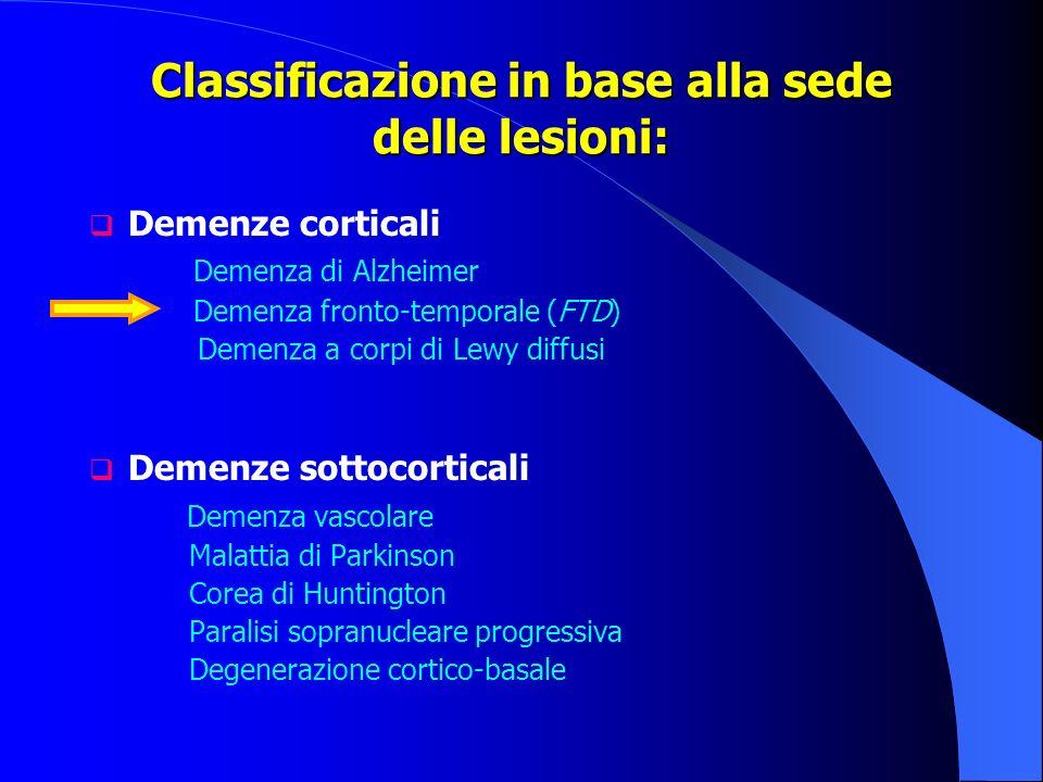 Classificazione in base alla sede delle lesioni: