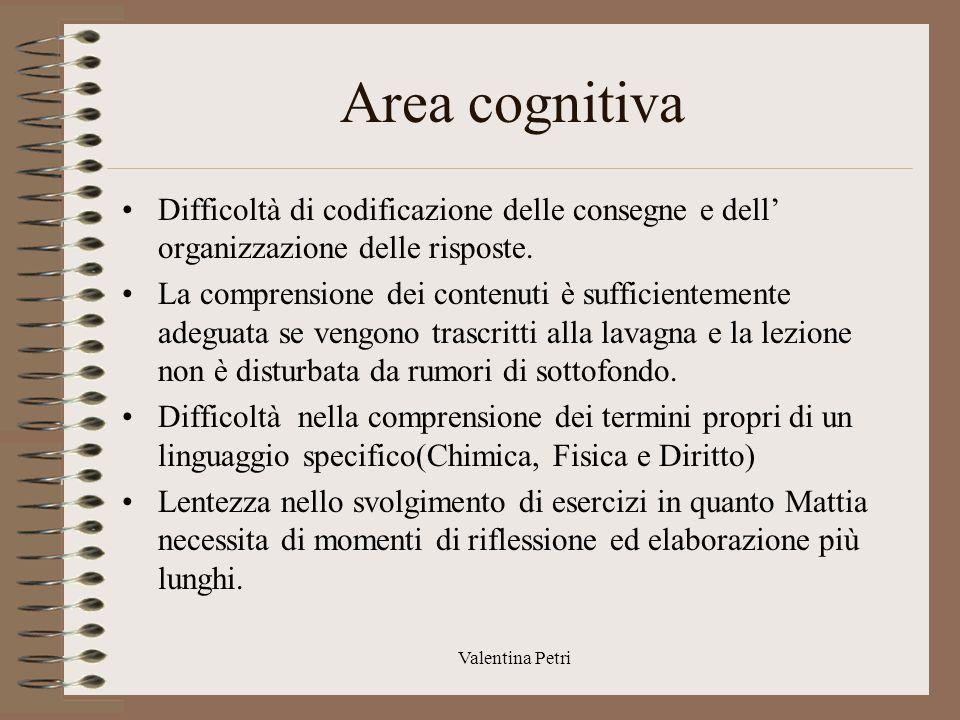 Area cognitiva Difficoltà di codificazione delle consegne e dell' organizzazione delle risposte.