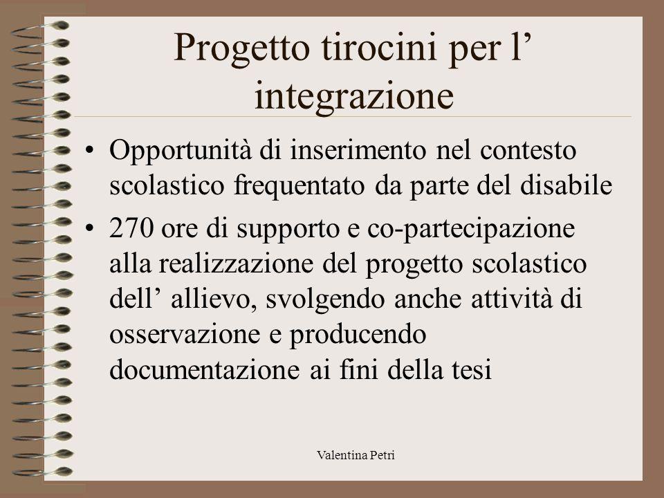 Progetto tirocini per l' integrazione