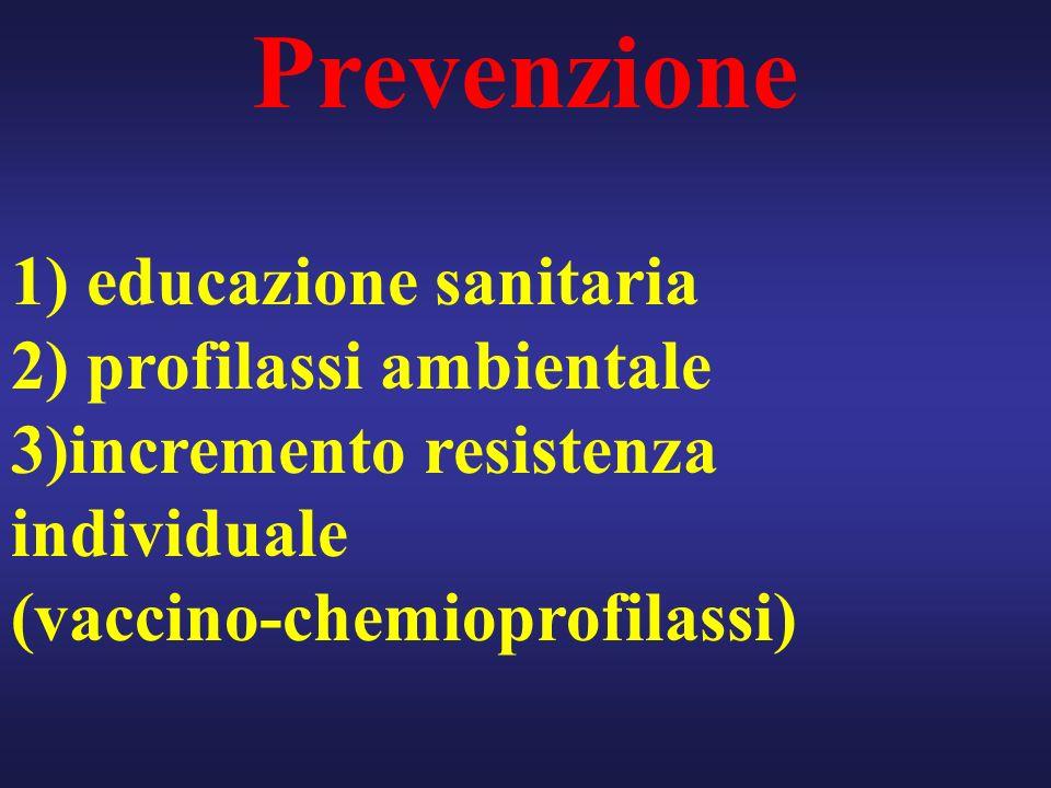 Prevenzione 1) educazione sanitaria 2) profilassi ambientale