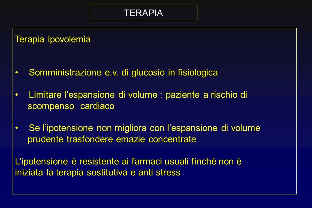 TERAPIATerapia ipovolemia. Somministrazione e.v. di glucosio in fisiologica. Limitare l'espansione di volume : paziente a rischio di.