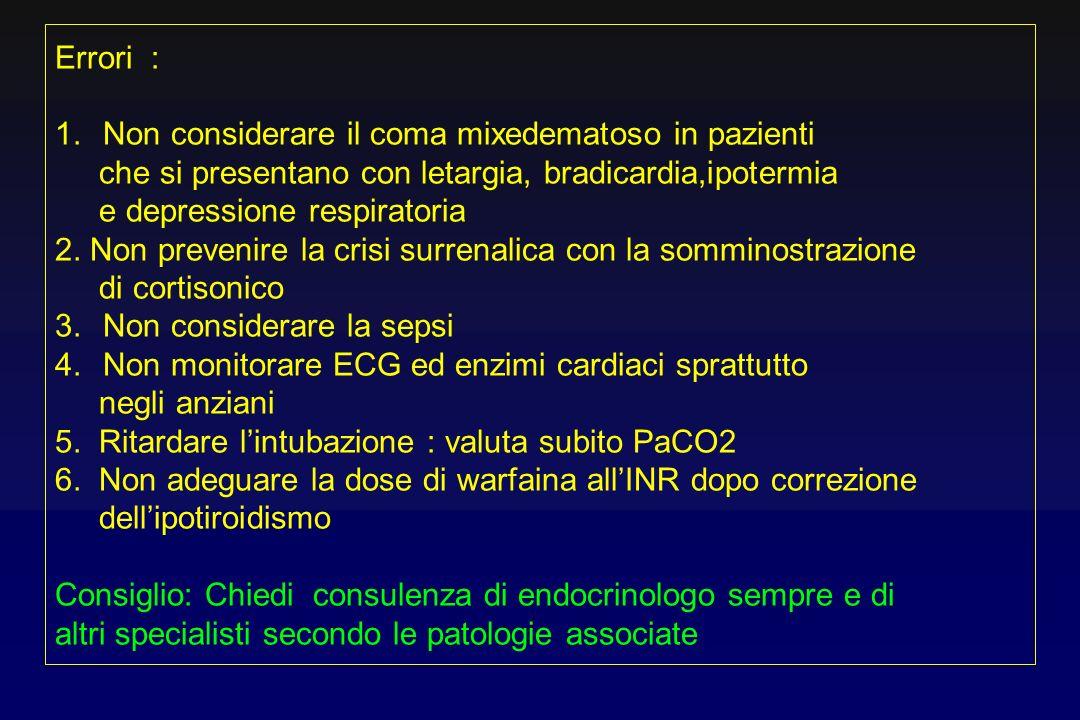 Errori :Non considerare il coma mixedematoso in pazienti. che si presentano con letargia, bradicardia,ipotermia.