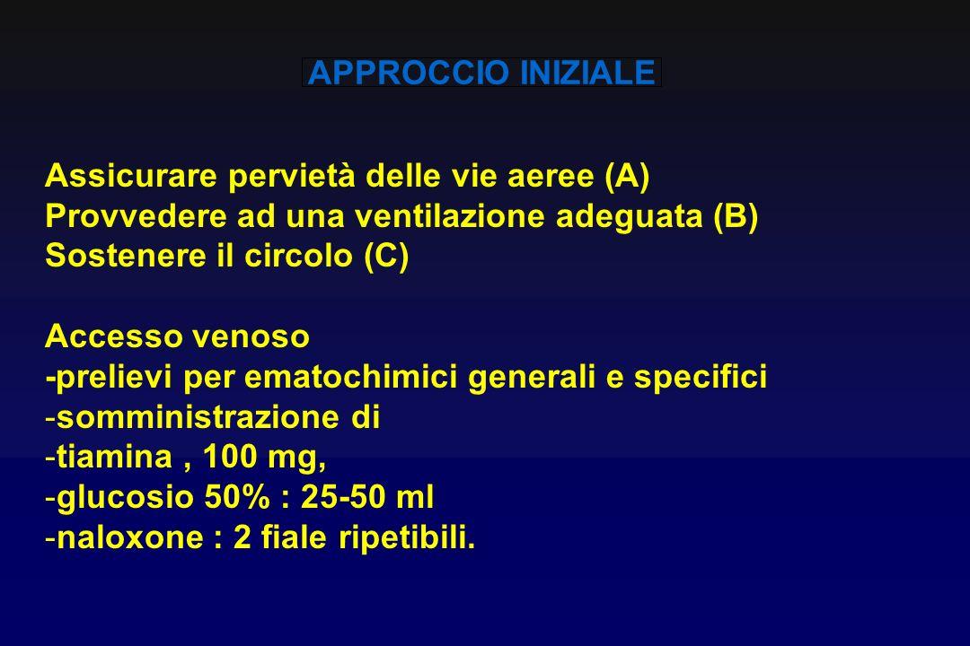 APPROCCIO INIZIALEAssicurare pervietà delle vie aeree (A) Provvedere ad una ventilazione adeguata (B)