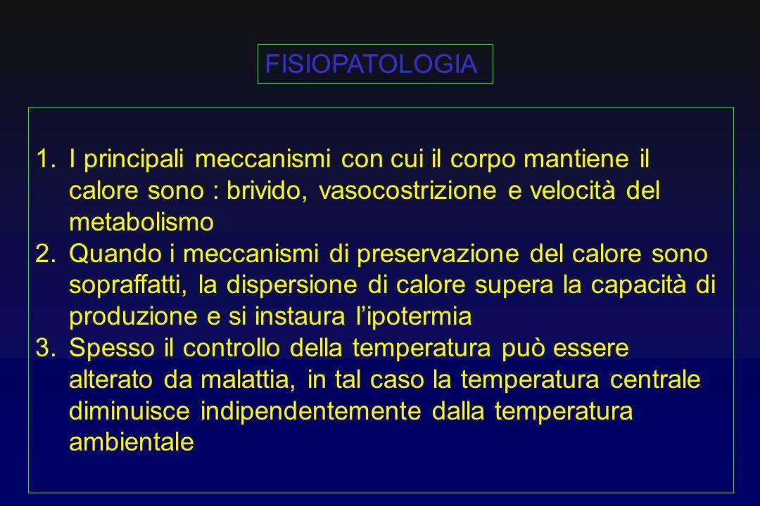 FISIOPATOLOGIA I principali meccanismi con cui il corpo mantiene il calore sono : brivido, vasocostrizione e velocità del metabolismo.