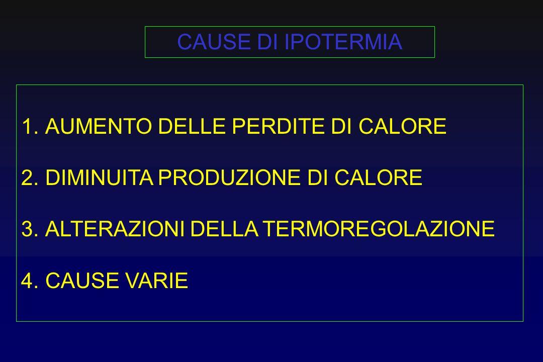 CAUSE DI IPOTERMIA AUMENTO DELLE PERDITE DI CALORE. DIMINUITA PRODUZIONE DI CALORE. ALTERAZIONI DELLA TERMOREGOLAZIONE.