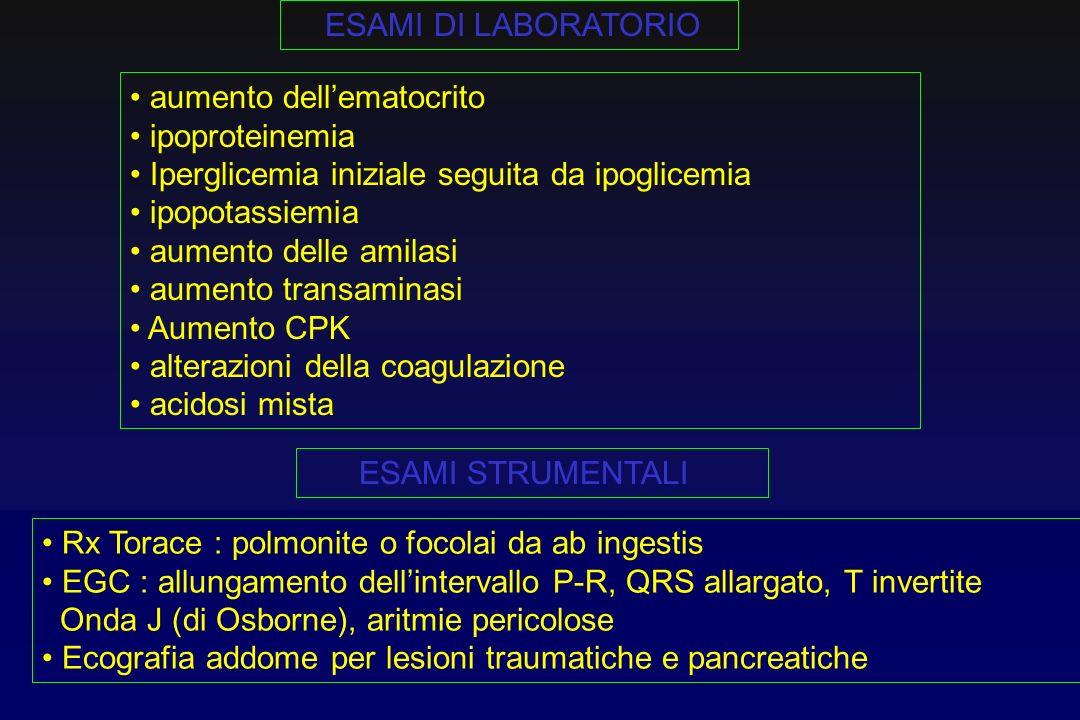 ESAMI DI LABORATORIOaumento dell'ematocrito. ipoproteinemia. Iperglicemia iniziale seguita da ipoglicemia.