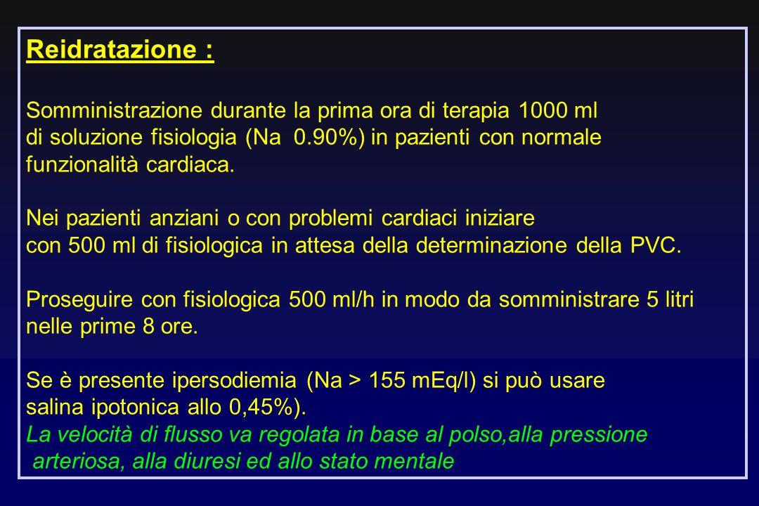 Reidratazione :Somministrazione durante la prima ora di terapia 1000 ml. di soluzione fisiologia (Na 0.90%) in pazienti con normale.