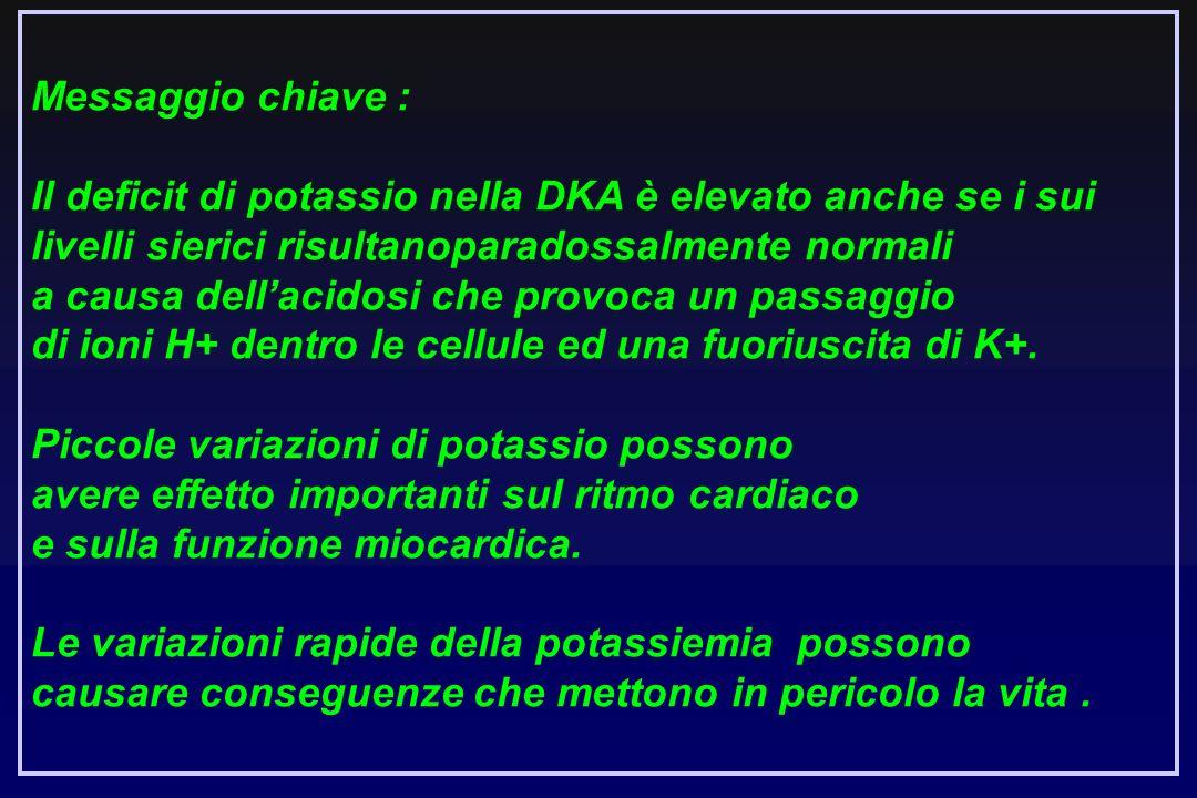 Messaggio chiave : Il deficit di potassio nella DKA è elevato anche se i sui livelli sierici risultanoparadossalmente normali.