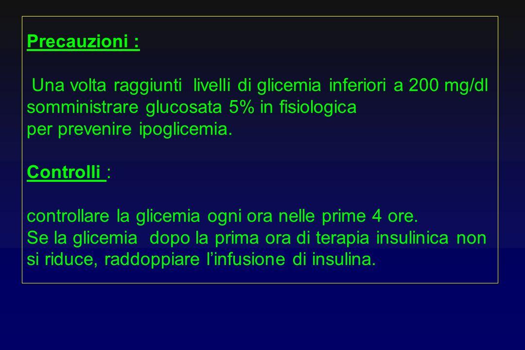 Precauzioni :Una volta raggiunti livelli di glicemia inferiori a 200 mg/dl somministrare glucosata 5% in fisiologica.
