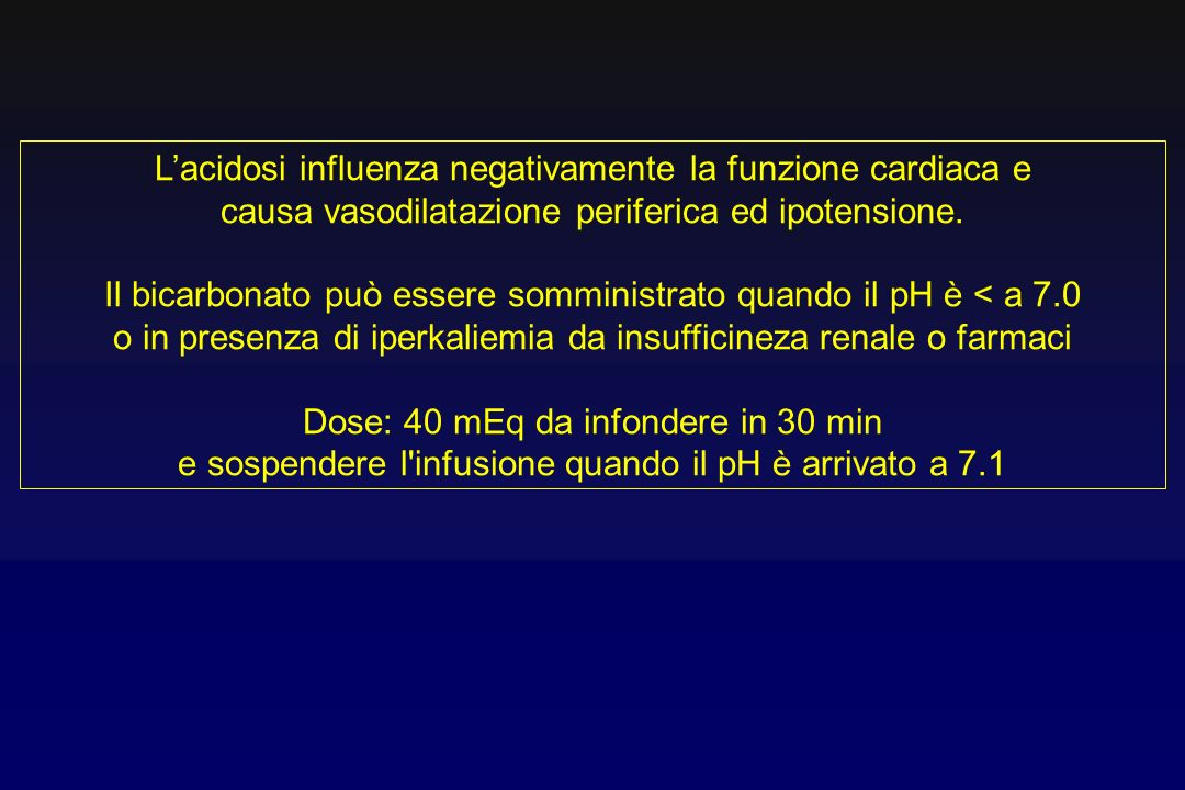 L'acidosi influenza negativamente la funzione cardiaca e