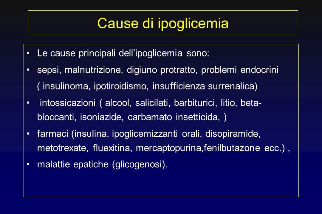 Cause di ipoglicemia Le cause principali dell'ipoglicemia sono: