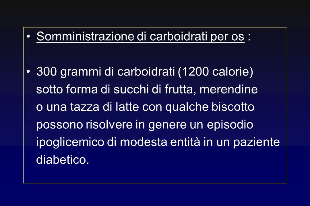 Somministrazione di carboidrati per os :