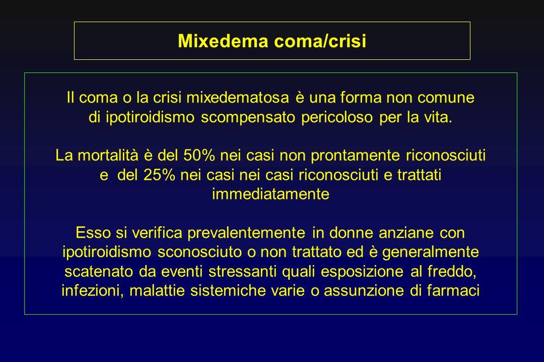 Mixedema coma/crisi Il coma o la crisi mixedematosa è una forma non comune. di ipotiroidismo scompensato pericoloso per la vita.