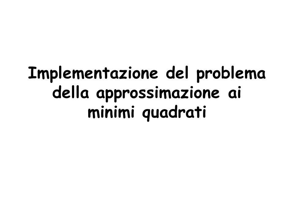 Implementazione del problema della approssimazione ai minimi quadrati
