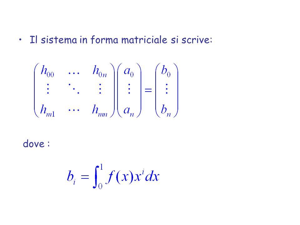 Il sistema in forma matriciale si scrive: