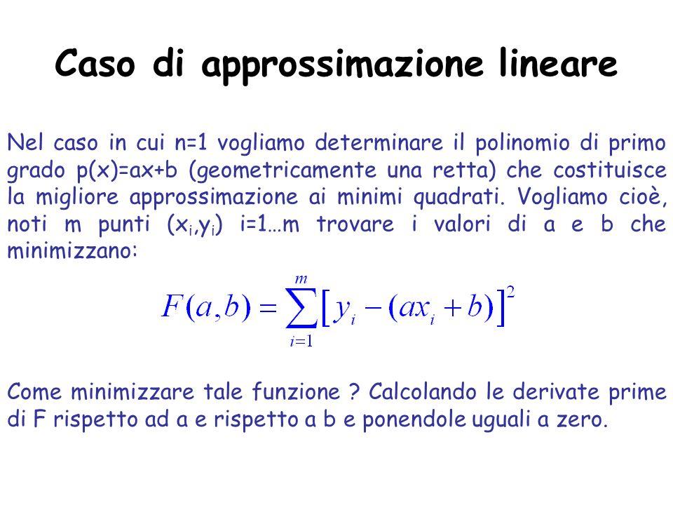 Caso di approssimazione lineare
