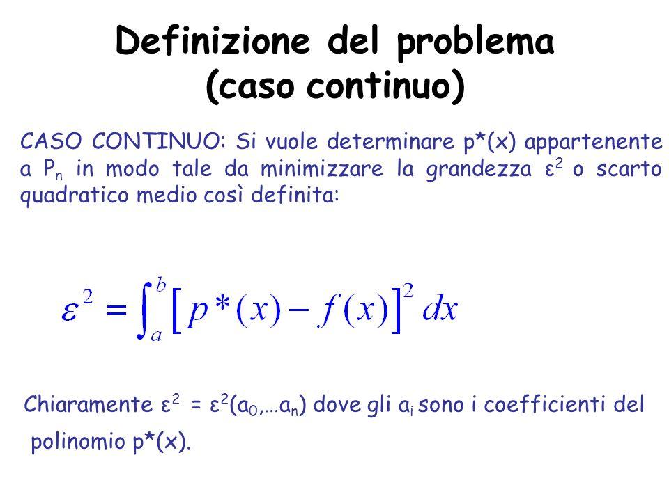 Definizione del problema (caso continuo)