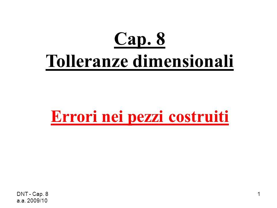 Cap. 8 Tolleranze dimensionali Errori nei pezzi costruiti