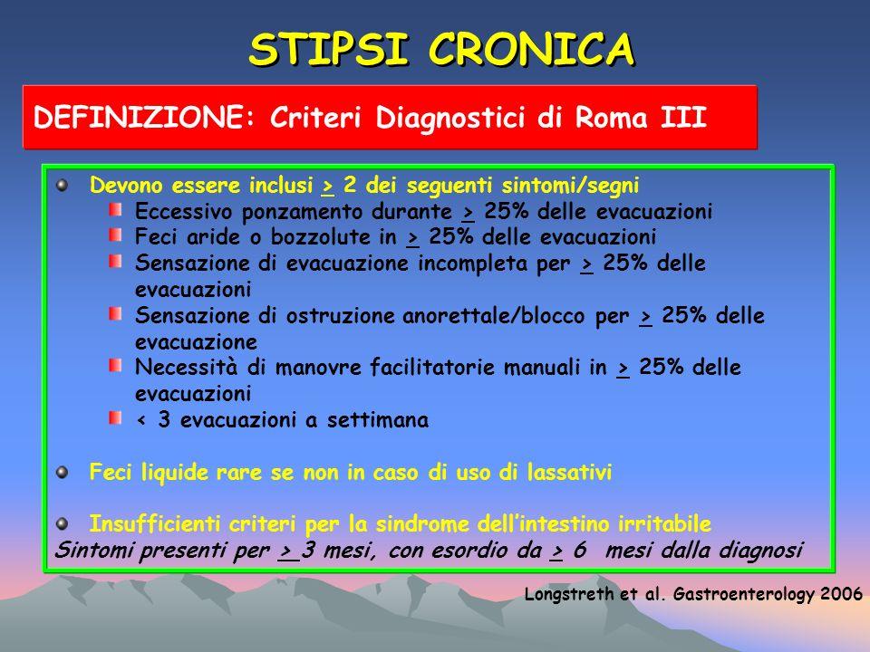 STIPSI CRONICA DEFINIZIONE: Criteri Diagnostici di Roma III