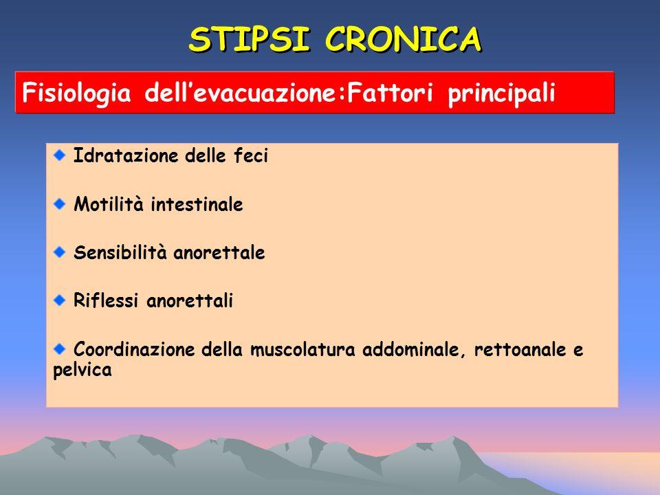 STIPSI CRONICA Fisiologia dell'evacuazione:Fattori principali