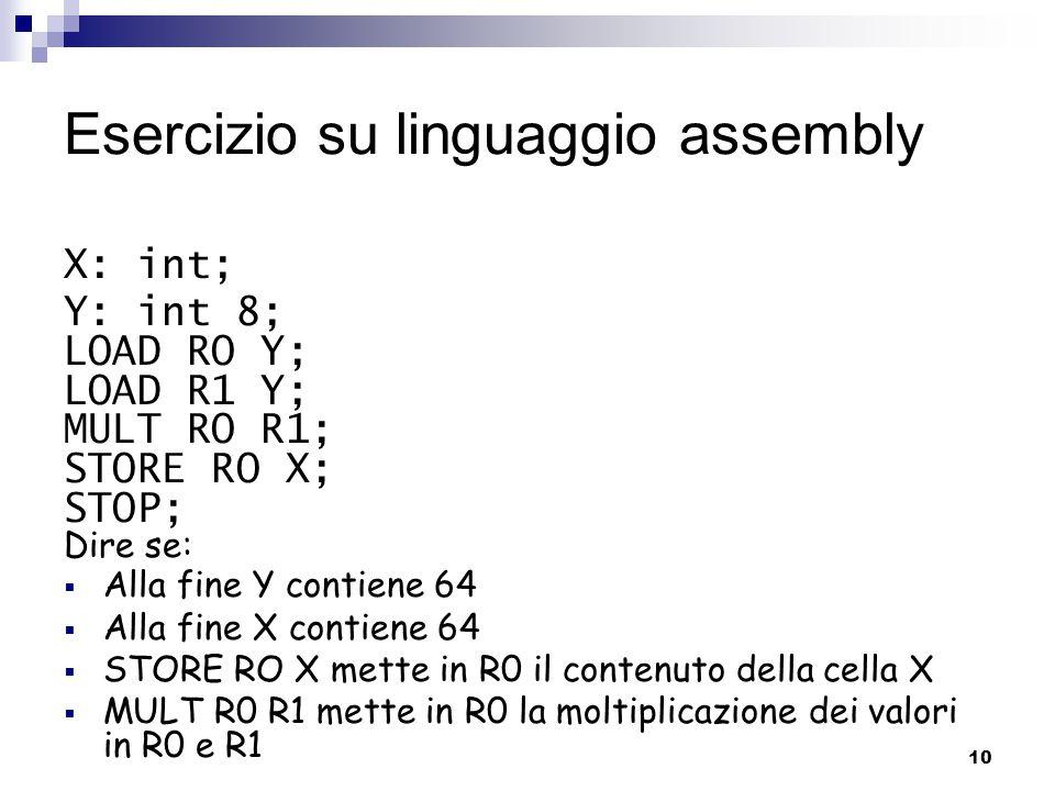 Esercizio su linguaggio assembly