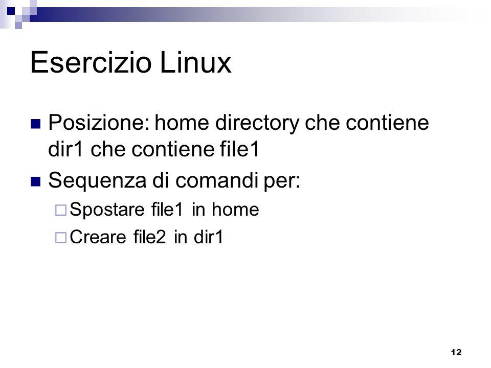 Esercizio Linux Posizione: home directory che contiene dir1 che contiene file1. Sequenza di comandi per: