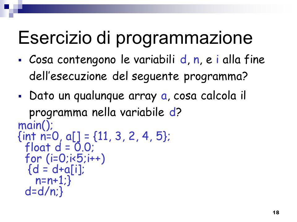 Esercizio di programmazione
